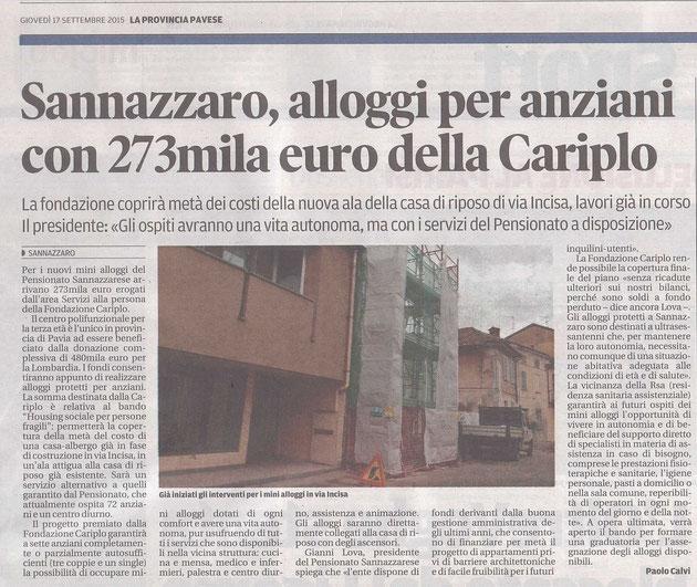 Sannazzaro, alloggi per anziani con 273mila euro della Cariplo