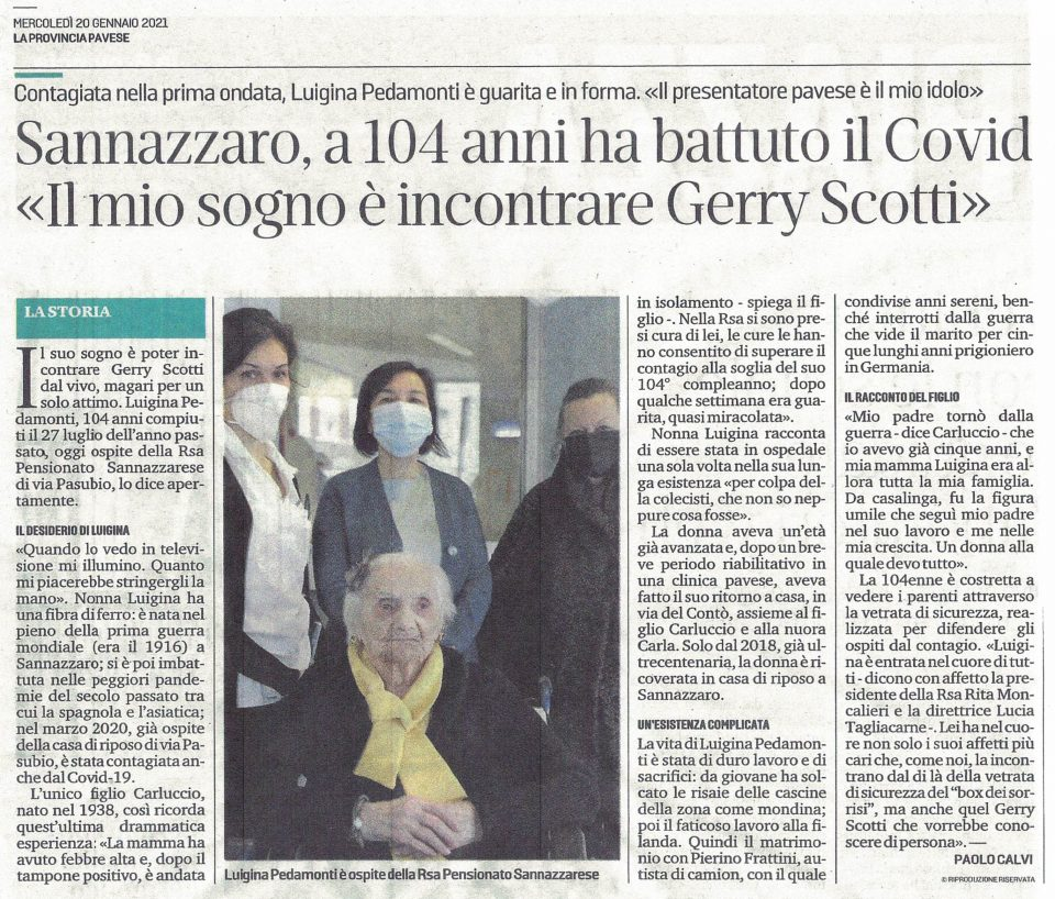 Sannazzaro, a 104 anni sconfigge il Covid «Il mio sogno è incontrare Gerry Scotti»