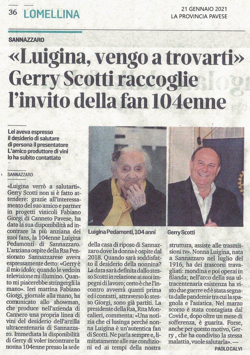 «Luigina, vengo a trovarti» Gerry Scotti raccoglie l'invito della fan 104enne