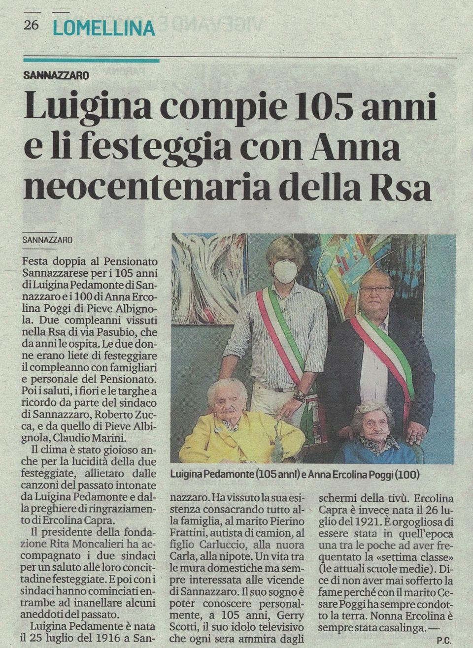 Luigina compie 105 anni e li festeggia con Anna neocentenaria della Rsa